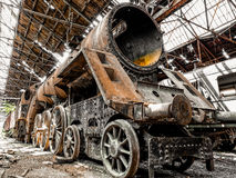 Old locomotive parking in a train cemetery Stock Photography