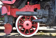 Old locomotive red wheel. Wolsztyn poland stock image