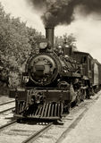 Old locomotive sepia. Image of an old locomotive done in sepia. Scanned film stock photography