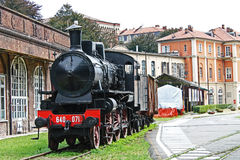 An old locomotive. An old steam train stopped at the station Royalty Free Stock Images