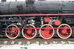 Old locomotive steam wheel Royalty Free Stock Images