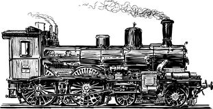 Old locomotive. Vector image of an ancient steam train Royalty Free Stock Image