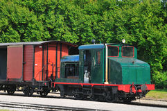 Old locomotive with wagon Royalty Free Stock Photography