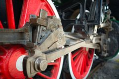 Old locomotive wheels close up Stock Photos