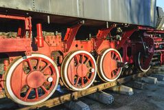 Old locomotive wheels royalty free stock photos