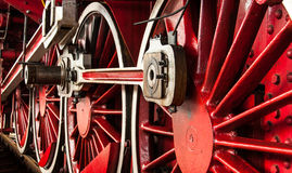 Old locomotive wheels. Vintage wheels from old steam locomotive stock photography