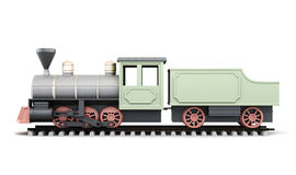 Old locomotive on a white background. 3d render image. Royalty Free Stock Images