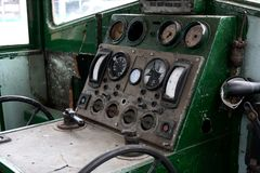 Old Locomtive. Old abandoned locomotive interior broken down Stock Photography
