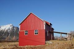 Old Lofoten's barn under  blue sky Royalty Free Stock Photography