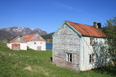 Old Lofoten's farm and hayloft. Abandoned old farm in Storfjord, a small village of Lofoten islands Stock Photo