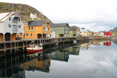 Old loft  of Nyksund mirroring Stock Photography