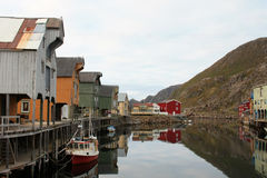 Old lofts of the harbour of Nyksund Stock Images