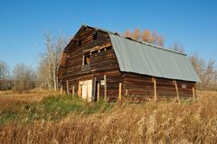An old log barn with a new metal roof Stock Photo