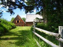 Old log barns and log fence. Digital landscape Stock Images