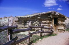Old log building on Wolf ranch, Arches National Park, UT Royalty Free Stock Image