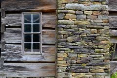 Old Log Cabin-CloseUp. Old Log Farm House in the Valley. Early Appalachian Settlers Royalty Free Stock Photo