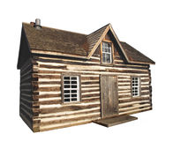 Old Log Cabin Isolated Stock Photography