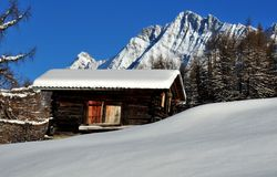 Old log cabin in the mountain Royalty Free Stock Photo