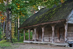 Old log cabin in the wooded forest of evergreen trees. Open-air ethnography museum near Riga, Latvia Royalty Free Stock Photo