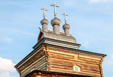 Old log church in Moscow Royalty Free Stock Photo