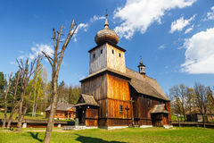 Old log church. In an open-air ethnography museum in Wygielzow, Poland Royalty Free Stock Photo