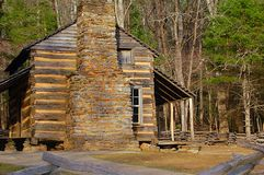 Old log Farmhouse from 1800's. Old log slatsfarmhouse in mountains 1800's royalty free stock photography