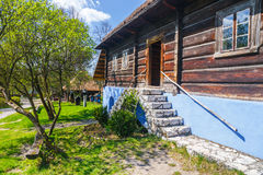Old log house in an open-air ethnography museum Royalty Free Stock Images
