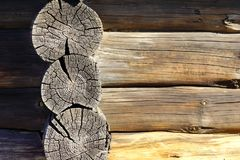 The old log house texture background. Close-up Royalty Free Stock Image