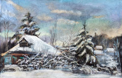 Snow winter. The old log hut brought by snow near wood Stock Photography