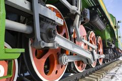 The old lokomotive. The wheels of the old Russian locomotive at the Orsha railway station (Belarus royalty free stock photos