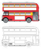Old london bus vector. Side view vector illustration of an old London double decker bus stock illustration