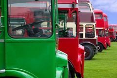 Old London buses. Vintage double decker buses in a row Stock Image
