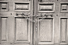 Old london door in england and   hinged Stock Photo