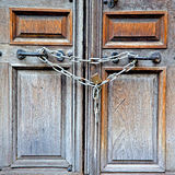 Old london door in england and   hinged Royalty Free Stock Photo