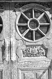 Old london    door in england and wood ancien abstract hinged Royalty Free Stock Photography