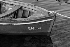 Old lonely boat. (monochrome picture Royalty Free Stock Photo