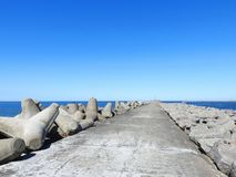 Long pier going in Baltic sea, Lithuania Stock Image