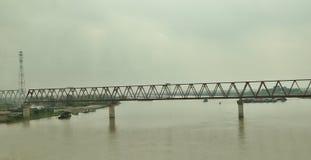 Old Long Bien Bridge - Red River. Old Long Bien Bridge in Hanoi, Vietnam Stock Photos