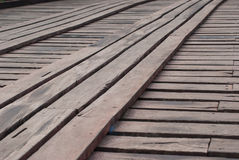 Old an long wooden bridge at Sangklaburi,Kanchanaburi province,. Thailand Stock Image