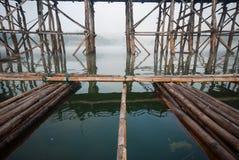 Old an long wooden bridge at Sangklaburi,Kanchanaburi province, Stock Photo