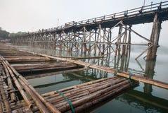 Old an long wooden bridge at Sangklaburi,Kanchanaburi province, Stock Image