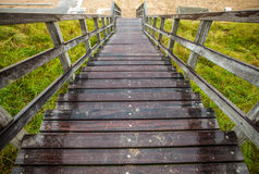 Old long wooden steps to beach of the North Sea stock photo