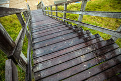 Old long wooden steps to beach of the North Sea Stock Image