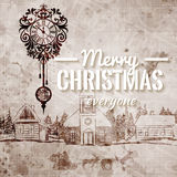 Old Looking Hand Drawn Retro Grange Christmas Greeting Card