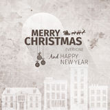 Old looking hand drawn retro grange christmas greeting card. And happy new year wish with clock, old houses on background Stock Photography