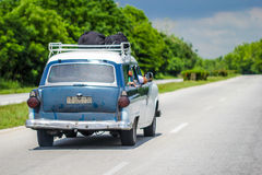 Old but looking new shiny green car in Cuba Stock Photo