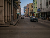 Old but looking new shiny green car in Cuba royalty free stock photos
