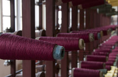Old loom with cotton Royalty Free Stock Photo