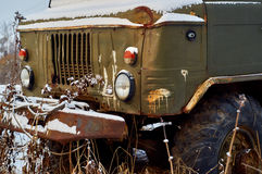 Old lorry abandoned in rural field Stock Photos