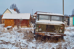 Old lorry abandoned in rural field Royalty Free Stock Images